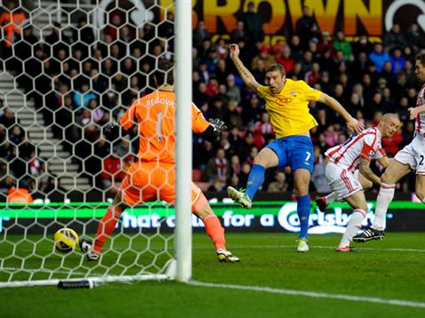 Rickie Lambert volleys Saints in front at the Britannia Stadium