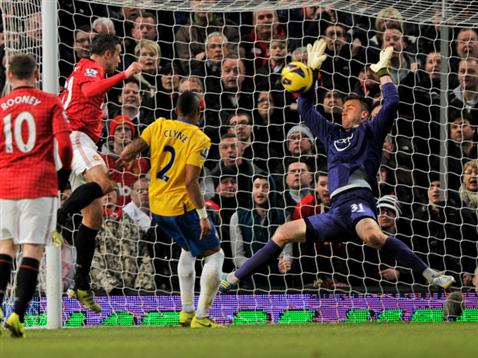 Artur Boruc saves from Robin van Persie