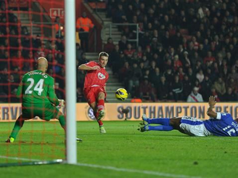Rickie Lambert goes close but is denied by Tim Howard