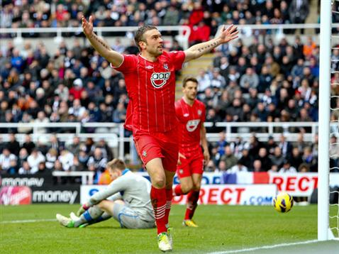 Rickie Lambert celebrates his 100th Saints goal