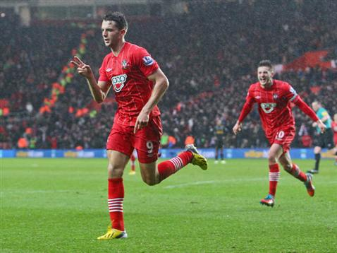 Jay Rodriguez celebrates his goal against Liverpool
