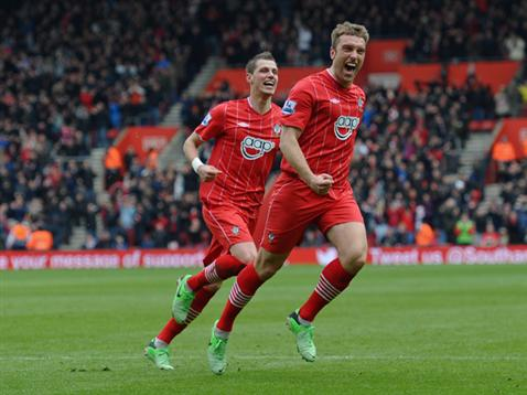 Rickie Lambert celebrates his winning goal against Chelsea
