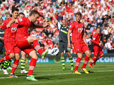 Rickie Lambert equalises against Stoke City