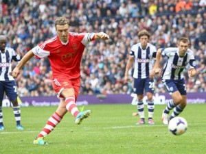 Rickie Lambert converts the late penalty that gave Saints all three points.