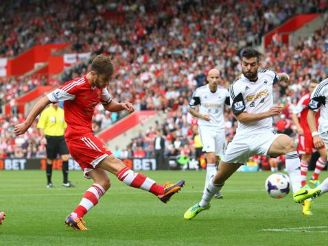Adam Lallana fires Saints in front against Swansea