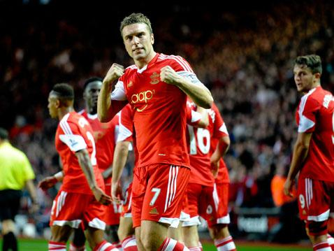 Rickie Lambert celebrates his opener against Fulham