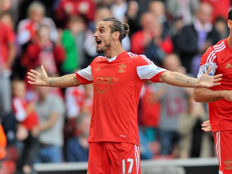 Dani Osvaldo celebrates his first Saints goal against Crystal Palace