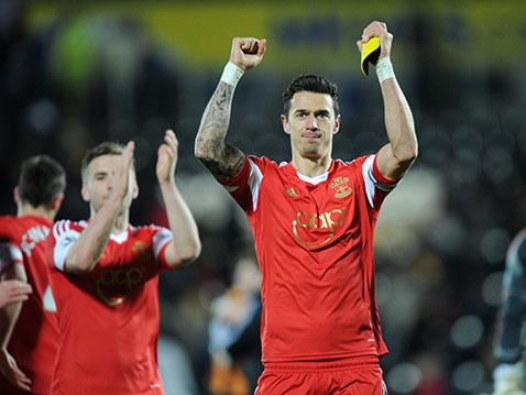 Jose Fonte celebrates at the final whistle after his goal helped Saints win at Hull.