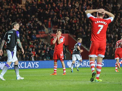 Jay Rodriguez and Rickie Lambert can't believe that another chance has gone begging against Liverpool