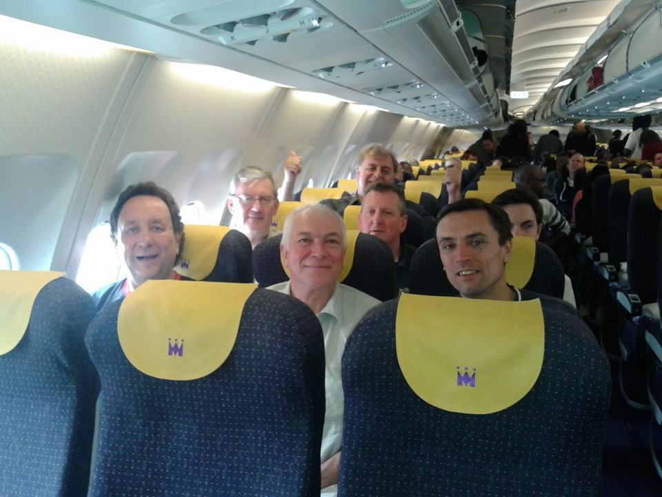 The motley crew (and fortunately not the cabin crew) in position just before takeoff.